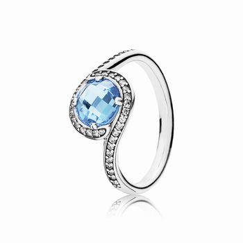 Radiant Embellishment Ring, Sky-Blue Crystal & Clear CZ 190968NB