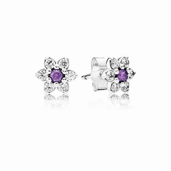 Pandora Forget Me Not Stud Earrings, Purple & Clear CZ 290690ACZ