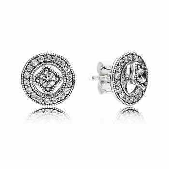 Pandora Vintage Allure Stud Earrings, Clear CZ 290721cz