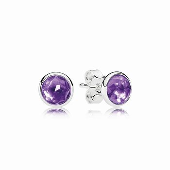 Pandora February Droplets Stud Earrings, Synthetic Amethyst 2907