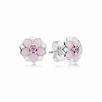 Pandora Magnolia Bloom Stud Earrings, Pale Cerise Enamel & Pink