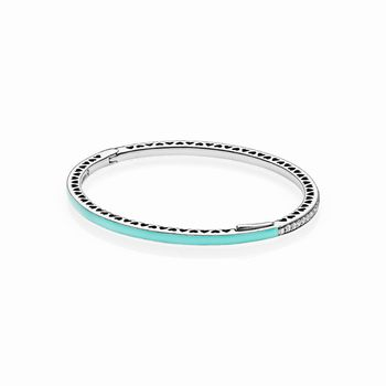 Radiant Hearts of PANDORA Bangle Bracelet, Bright Mint Enamel &