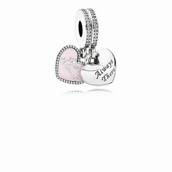 Pandora Best Friends Dangle Charm, Soft Pink Enamel & Clear CZ 7